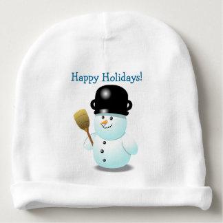Cooler Snowman mit einem schwarzen Topf auf seinem Babymütze