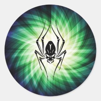 Cooler Spinnen-Schädel Runder Aufkleber
