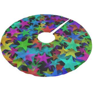 Cooler Stern-Regenbogen Polyester Weihnachtsbaumdecke