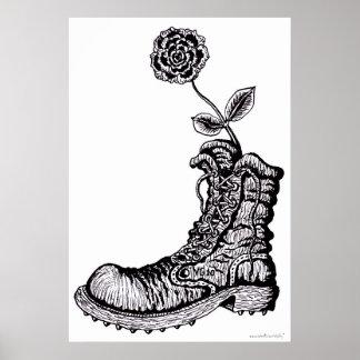 Cooler Stiefel mit Plakat der grafischen Kunst der