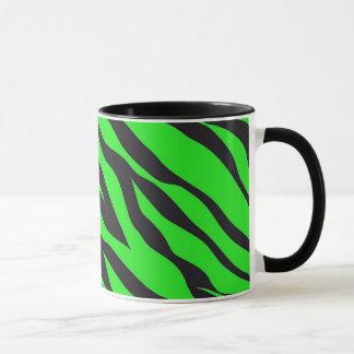 Cooler Trendy Limoner grüner Neonzebra Stripes Tasse