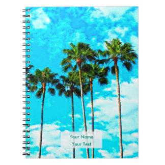 Cooler tropischer Palme-blauer Himmel Notizblock