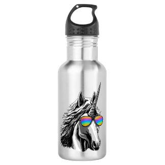 Cooler Unicorn mit Regenbogen sunglass Edelstahlflasche