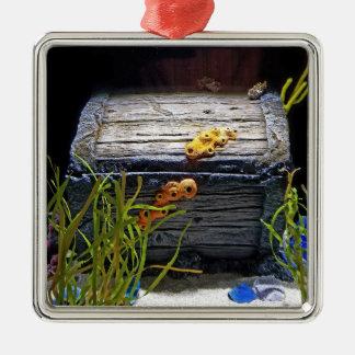 Cooler Unterwasserschatz-Kasten Quadratisches Silberfarbenes Ornament