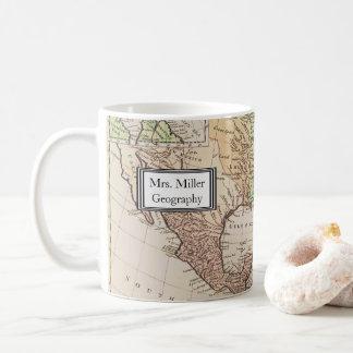Cooler Vintager neuer Weltkarten-Geografie-Lehrer Kaffeetasse