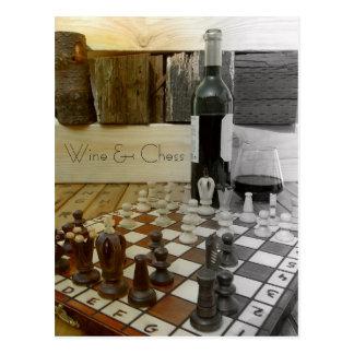 Cooler Wein u. Schach-Postkarte! Postkarte