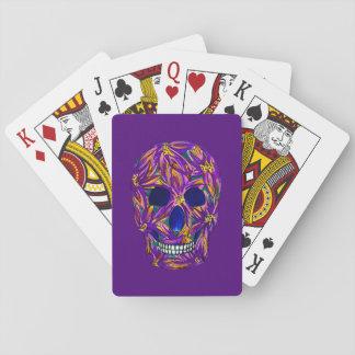Cooler Zuckerschädel-lila Spielkarten