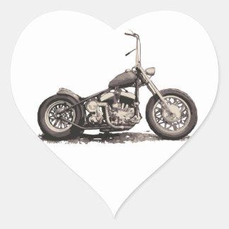 Cooles altes Motorrad Herz-Aufkleber