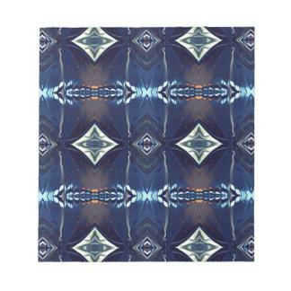 Cooles angesagtes Trendy blaues Stammes- Muster Notizblock