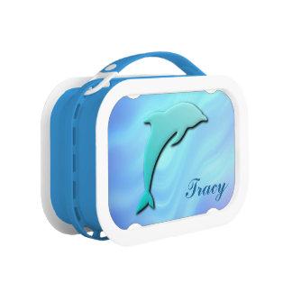 Cooles Aqua-blaues Delphin-Monogramm Brotdose