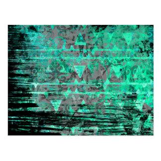 Cooles Aqua und grauer Stammes- DreieckeGrunge Postkarte