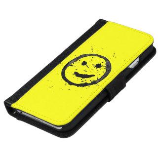 Cooles beflecktes glückliches Smiley-Gelb iPhone 6/6s Geldbeutel Hülle