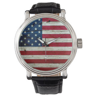 Cooles beunruhigtes amerikanische Flaggen-Holz Uhr