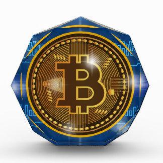 Cooles Bitcoin Logo und Diagramm Entwurf Acryl Auszeichnung