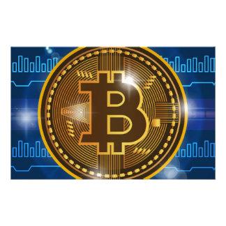 Cooles Bitcoin Logo und Diagramm Entwurf Briefpapier