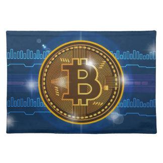Cooles Bitcoin Logo und Diagramm Entwurf Stofftischset