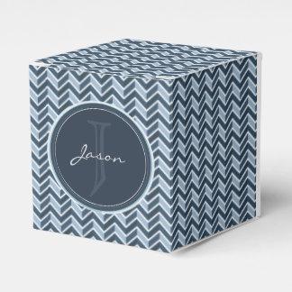 Cooles blaues Zickzack Muster-Monogramm Geschenkschachtel