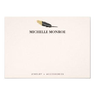 Cooles böhmisches Feder-Butike-Rosa Notecard 12,7 X 17,8 Cm Einladungskarte