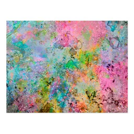 Cooles buntes Neon färbt abstraktes Marmorbild Postkarte