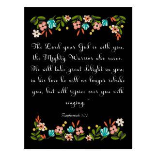 Cooles christliches Kunst Zephaniah 3:17 Postkarte
