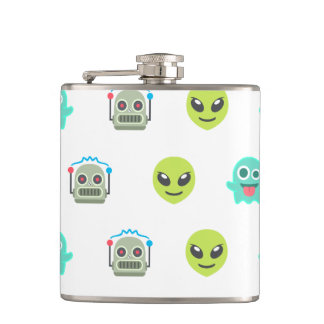 Cooles Emoji alien-Geist-Roboter-Gesichts-Muster Flachmann