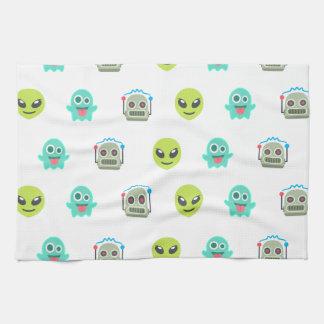 Cooles Emoji alien-Geist-Roboter-Gesichts-Muster Handtuch