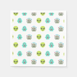 Cooles Emoji alien-Geist-Roboter-Gesichts-Muster Servietten