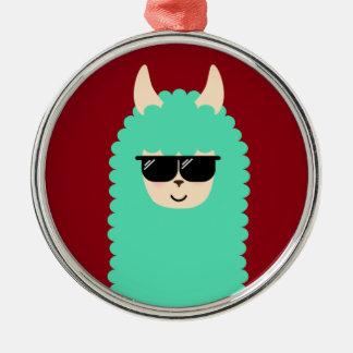 Cooles Emoji Lama Silbernes Ornament
