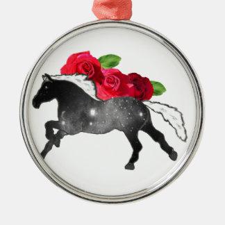 Cooles Galazy Pferdeschwarzes + Weißer Nebelfleck Silbernes Ornament