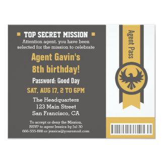 Cooles geheimes Agent-Geburtstags-Party 10,8 X 14 Cm Einladungskarte