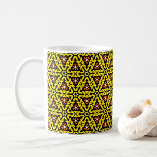Cooles gelbes und orange mit Filigran geschmücktes Kaffeetasse
