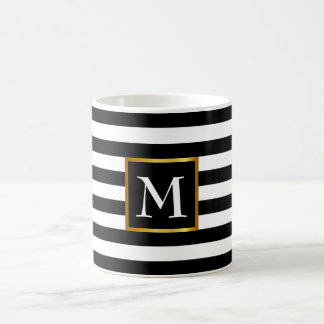 Cooles gestreiftes Namensanfangsmonogramm mit Kaffeetasse