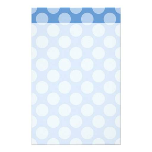 Cooles Girly blaues Polka-Punkt-Muster auf blauen  Personalisiertes Büropapier