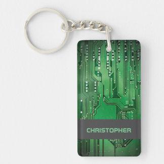 Cooles grünes Computer-Leiterplatte-Monogramm Beidseitiger Rechteckiger Acryl Schlüsselanhänger