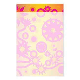Cooles heißes Rosa-orange Girly Stern-Kreis-Muster Büropapier