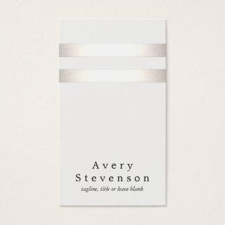 Cooles Imitat-silberne Folie und weiße gestreifte Visitenkarte