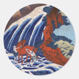 Cooles japanisches ukiyo-e Vintage Runder Aufkleber