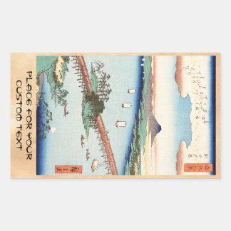 Cooles japanisches Vintages ukiyo-e Landschaft Rechteckiger Aufkleber