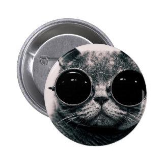 cooles Katze kool kat mit Schatten Runder Button 5,1 Cm