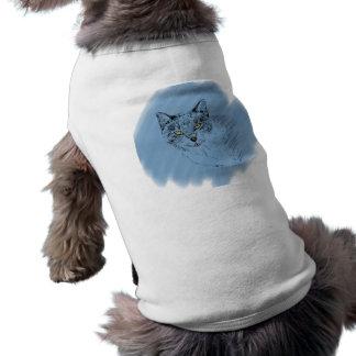 Cooles Katzen-Gekritzel auf blauem Hintergrund Shirt