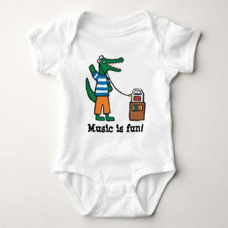 Cooles Krokodil hört Musik Baby Strampler