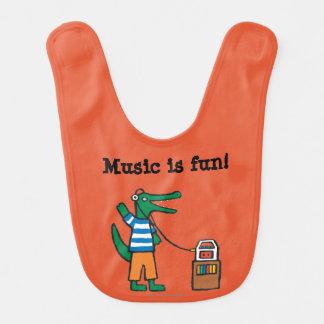 Cooles Krokodil hört Musik Babylätzchen