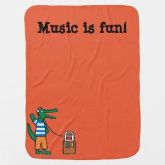 Cooles Krokodil hört Musik Kinderwagendecke