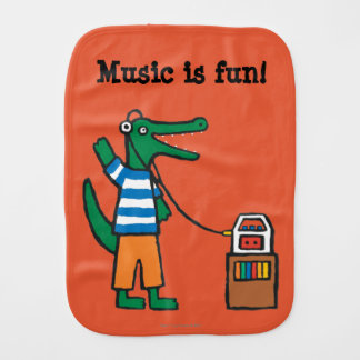Cooles Krokodil hört Musik Spucktuch