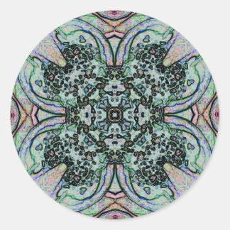 Cooles künstlerisches kreuzförmiges Muster Runder Aufkleber