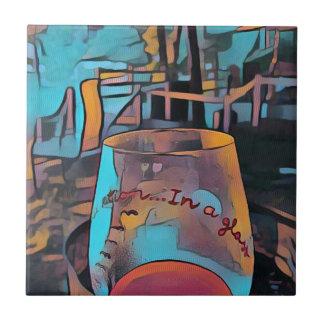 Cooles künstlerisches Wein-Glas Kleine Quadratische Fliese