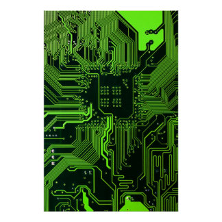 Cooles Leiterplatte-Computer-Grün Poster