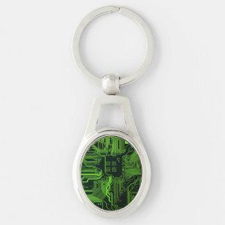 Cooles Leiterplatte-Computer-Grün Silberfarbener Oval Schlüsselanhänger