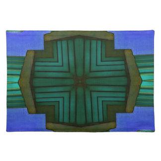Cooles lineares symmetrisches blaues Grün-Muster Tischset