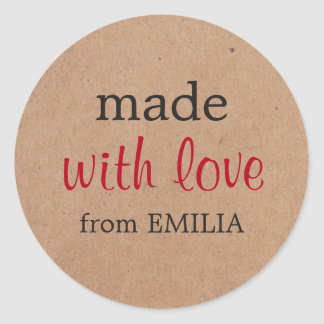 Cool Minimal Printed Kraft Made with love for Gift